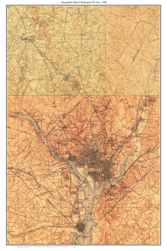 Topographic Map Washington Dc.Washington Dc Area 1908 Old Topographic Map Usgs Custom Etsy