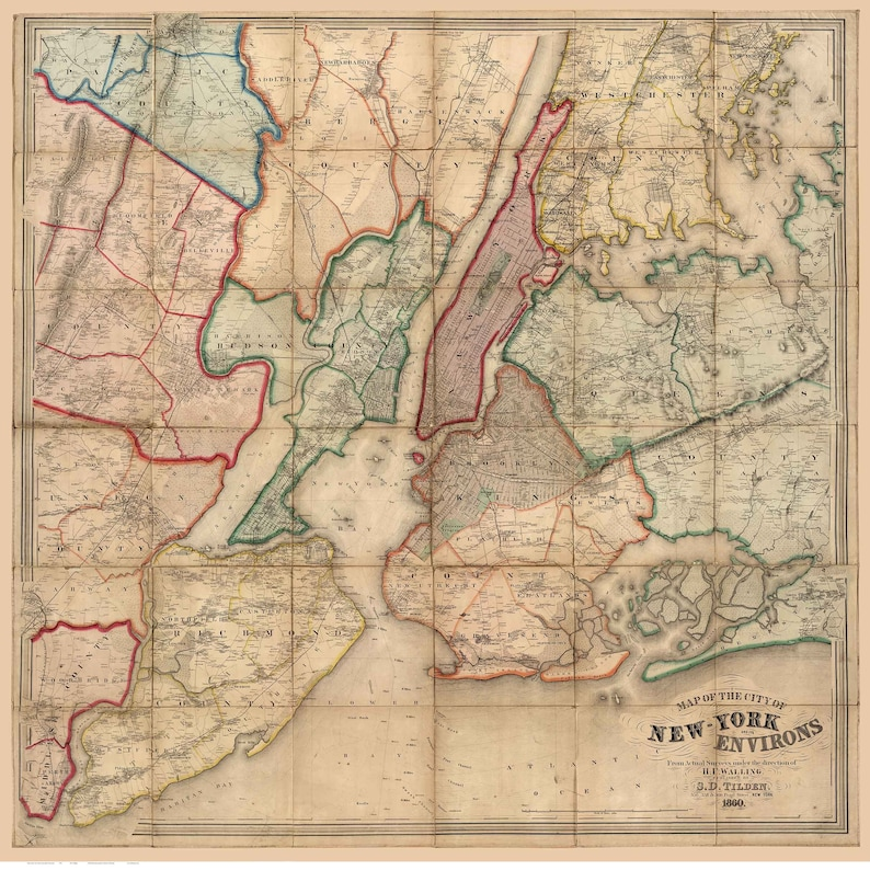 Map Of New York 1800.New York City Map 1860 Old Wall Map With Homeowner Names Etsy