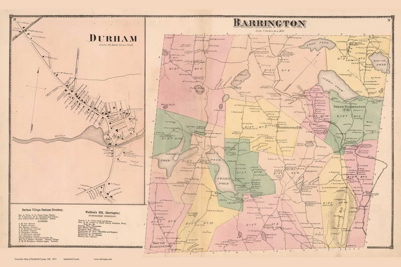 Barrington 1871 Map Homeowner names Durham Village Reprint ...