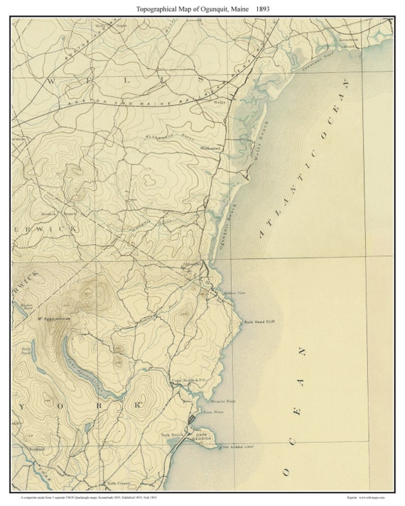 Ogunquit 1893 Old Topographic Map Usgs Custom Composite Etsy