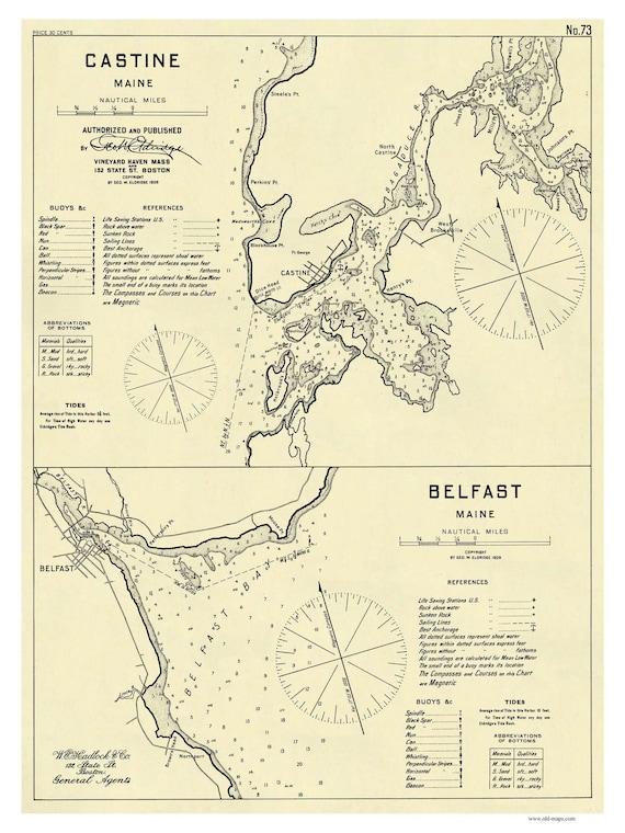 Castine Belfast 1909 Harbor Chart Nautical Maine Etsy