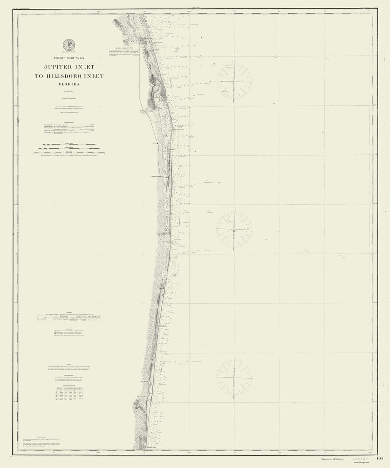 Jupiter Inlet to Hillsboro Inlet 1887 Nautical Map Reprint   Etsy