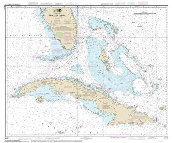 Map Of Florida And Cuba.Straits Of Florida And Approaches 2014 Nautical Map Etsy