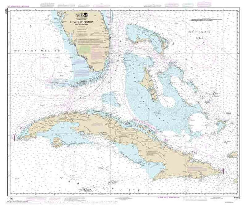 Straits Of Florida And Approaches 2014 Nautical Map Etsy