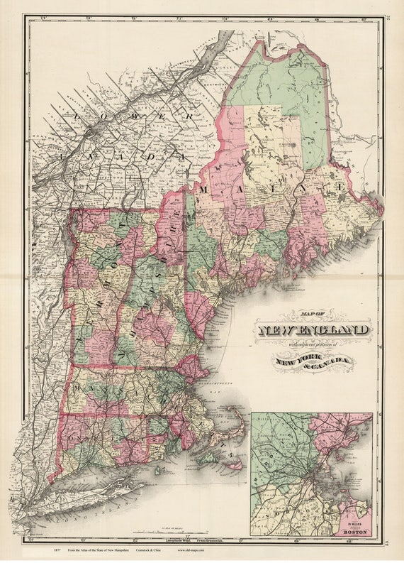 Topographic Map Of New England.New England In 1877 Old Map Topographic Reprint Showing Etsy