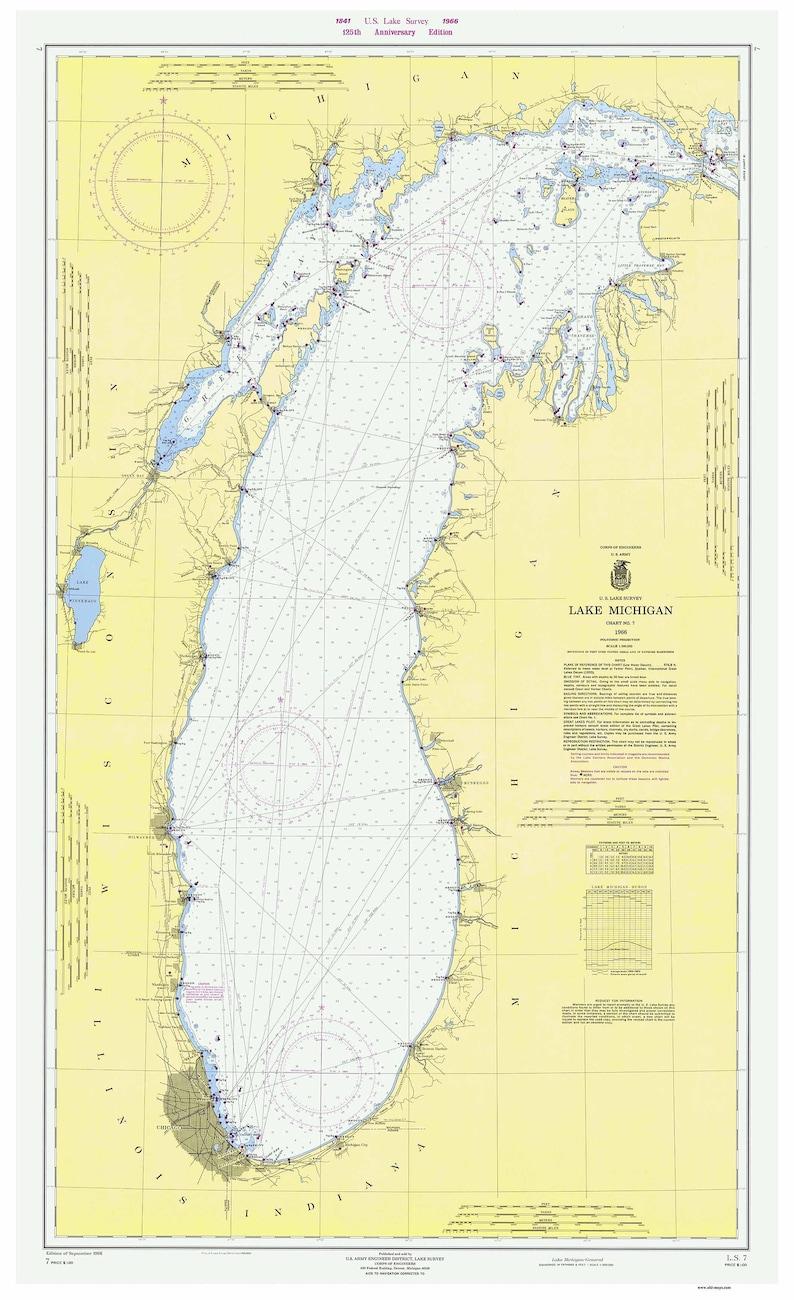 Lake Michigan 1966 Nautical Map Reprint 125th Anniversary Etsy - Lake-michigan-us-map