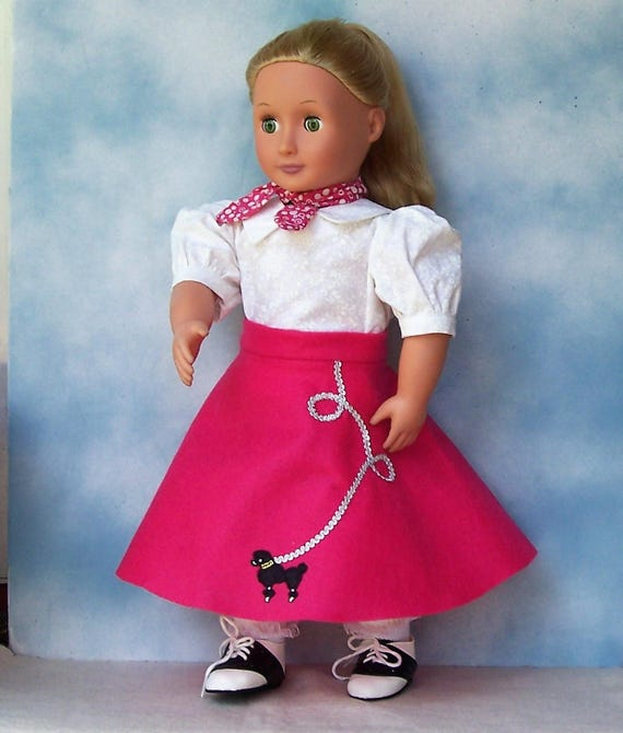 Handmade Pink and White 2 Piece Poodle Skirt for Doll