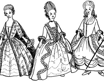 1710 - 1780s American Colonial Baroque/Rococo Costume Clothing Pattern Collection for Fashion Dolls Barbie - INSTANT DOWNLOAD PDF ePattern  sc 1 st  Etsy & Colonial barbie   Etsy