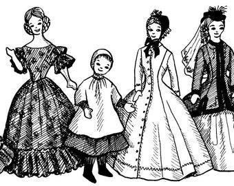1840 - 1860s Victorian & Civil War Costume Pattern Collection for Fashion Dolls, Barbie - INSTANT DOWNLOAD PDF ePattern