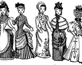 1870 - 1890s Victorian & Wild West Costume Sewing Pattern Collection for Fashion Dolls, Barbie - INSTANT DOWNLOAD PDF ePattern