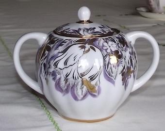 Gorgeous  gold-trimmed vintage china sugar bowl - USSR