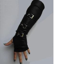 Men's - Women's Leather-Look Lycra Gunslinger Gloves