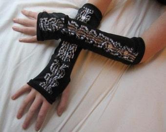 Long Black & White Gingham Gloves