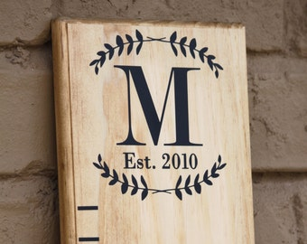 Growth Chart Ruler Add-On -- Custom Personalization Decal -- Laurel Monogram with Est. date