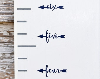 Height Marker for Growth Chart Ruler - Vinyl Decal Arrow in Script - Measuring Mark