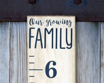 "Growth Chart Ruler Add-On--""Our Growing Family"" Decal - Modern Style - Top Header"
