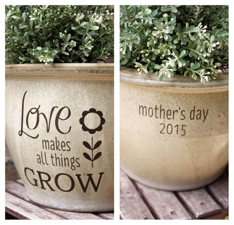 Summer Decor Personalized Mother/'s Day Gift Spring Decor Shelf Decor Engraved Flower Pot Flower Pot Garden Decor Tiered Tray Decor