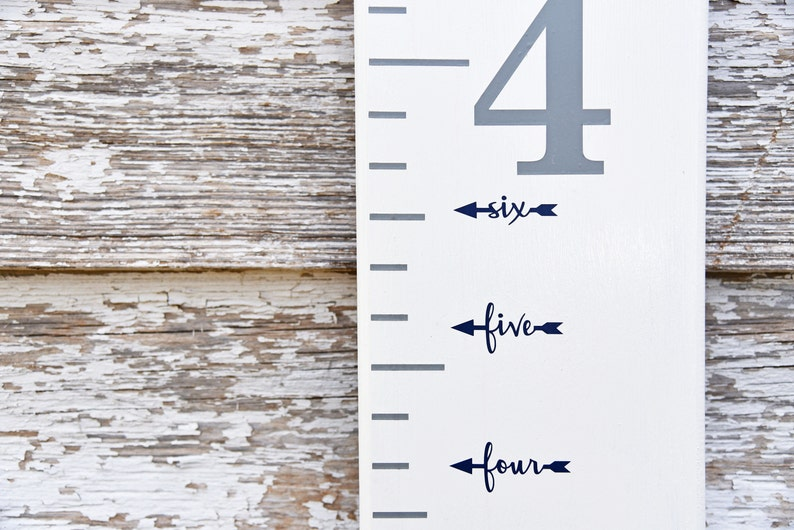 Height Marker for Growth Chart Ruler  Vinyl Decal Arrow in Flag