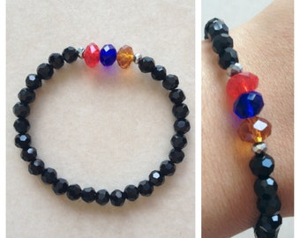 Handmade Armenian Genocide Awarenes Bracelet with Red Blue Orange and shiny black beads