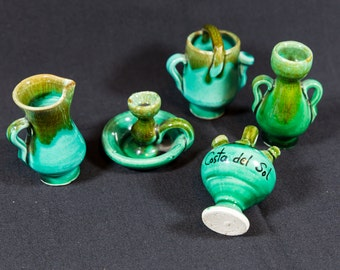 miniature pottery, fairy garden supplies, souvenir from Spain, turquoise pottery, Costa Del Sol, vintage vase