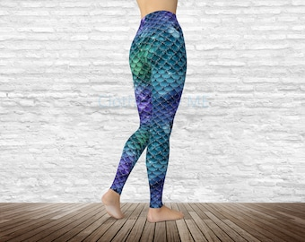 90382bfa44bc15 Glittery Mermaid Leggings - Adult, Capri & Kids, Yoga Leggings, Printed  Tights, Yoga Pants, Printed Leggings, Mermaid Legging, TC