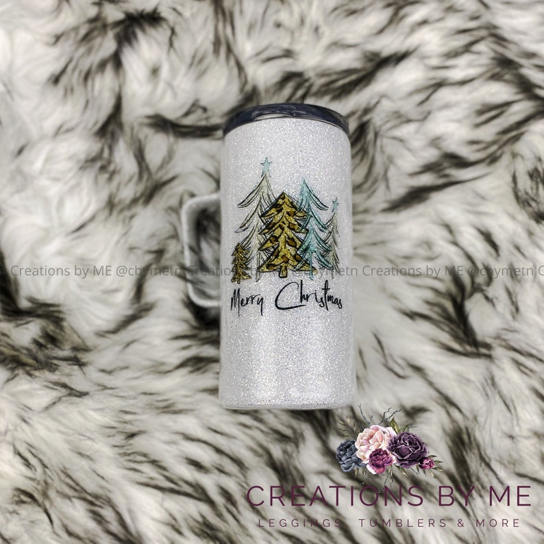 Merry Christmas Glitter Tumbler Glittered Covered Christmas image 0