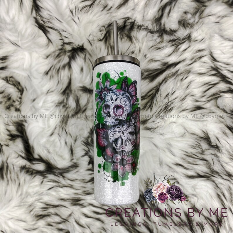 Sugar Skull Tattoo Glitter Tumbler Glittered Covered Butterfly image 0