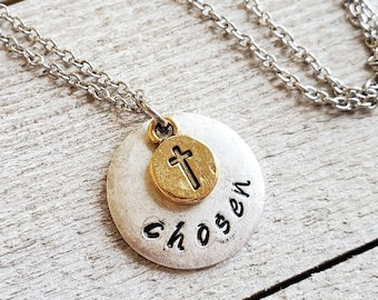 Chosen Necklace, Christian Jewelry,  Hand Stamped Jewelry, Gold Cross Necklace, Mixed Metal, Religious Necklace, Gift for Christian Woman