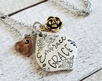Embrace Grace Necklace, Christian Jewelry, Inspirational Gift, Hand Stamped, Cluster Necklace, Christian Women Gifts, Mixed Metal Jewelry