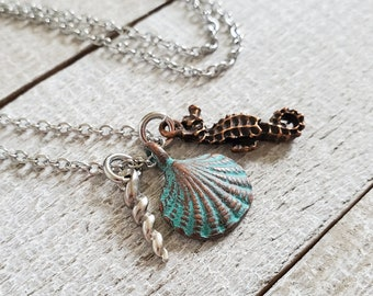 Beach Charm Necklace, Ocean Jewelry, Sea Shell Necklace, Mixed Metal Jewelry, Beachy Gifts, Seahorse Necklace, Cluster Necklace