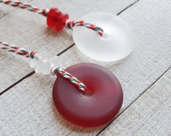 Red and White Ornaments, Christmas Ornaments, Holiday Decorations, Eco Friendly, Glass Ornaments, Recycled Glass Decor, Christmas Gift