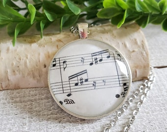 Music Pendant Necklace, Unique Music Gifts, Long Necklace for Women, Musician Gifts, Beethoven Fur Elise, Gifts for Music Lovers