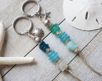 Boho Keychain, Coastal Gifts, Natural Gifts for Women, Sea Glass Key Chain, Nautical Gifts, Ocean Keychain, Sea Life, Sand Dollar, Starfish
