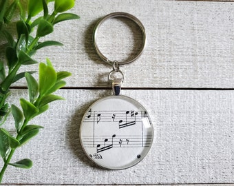 Music Keychain, Unique Music Gifts, Musician Gifts, Music Note Key Chain, Gifts for Music Lovers, Beethoven Fur Elise, Musical Gifts