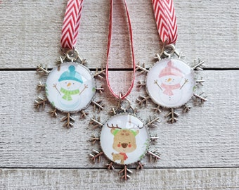 Snowman Ornaments, Reindeer Ornament, Holiday Decor, Christmas Tree Decorations, Ornament Set, Gifts Under 25, Snowflake Ornaments