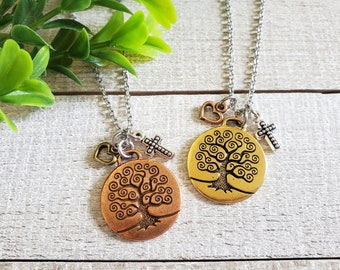 Tree of Life Necklace, Christian Jewelry, Cluster Necklace, Christian Women Gifts, Religious Charm Necklace, Mixed Metal, Long Necklace