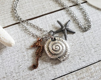 Ocean Charm Necklace, Beach Jewelry, Spiral Shell Necklace, Nautilus Necklace, Mixed Metal Jewelry, Beachy Gifts, Sea Horse Necklace