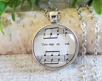 Music Necklace, Then Sings My Soul, How Great Thou Art, Gifts for Music Lovers, Christian Jewelry for Women, Christian Gifts, Long Necklace