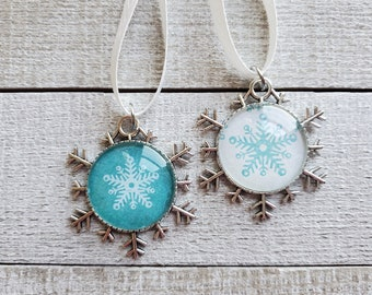 Snowflake Ornaments, Blue and White Ornaments, Holiday Decor, Christmas Tree Decorations, Gifts Under 15, Teal Ornaments