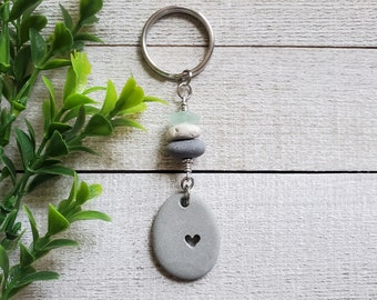 Stone Heart Keychain, Best Friend Gifts, Unique Gifts, Carved Rock, Boho Key Chain, Gifts for Women, Stone Key Chain, Birthday Gift