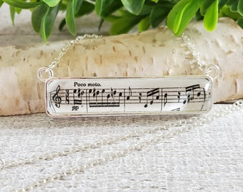 Rectangle Pendant Music Necklace, Musician Gifts, Beethoven Fur Elise, Music Teacher Gift, Music Jewelry, Gifts for Music Lovers, Music Note