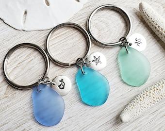 Custom Ocean Keychain with Sea Turtle, Starfish or Whale Charm - Sea Glass Key Chain - Sea Life Keychain - Coastal Keychain Gift