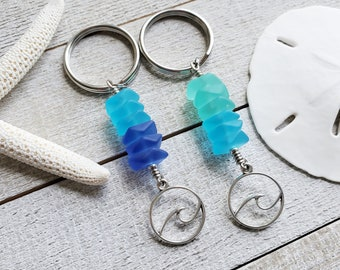 Sea Glass Key Chain, Ocean Wave Keychain, Tropical Gift, Beach Keychain, Seaglass Keyring, Beach Lover Gift, Aqua and Blue, Aqua and Green