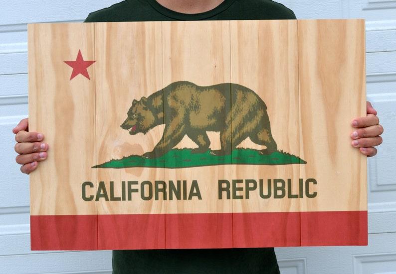 California Flag Printed on Rustic Wood