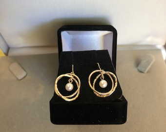 14K Gold Double Rings with Pearl Earrings wire for pierced ears
