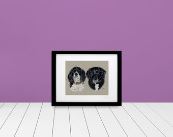 "Custom Double Framed & Matted Pet Portrait - 5""x7"""