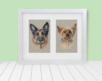 "Custom Framed & Matted Double Pet Portrait - 5""x7"""