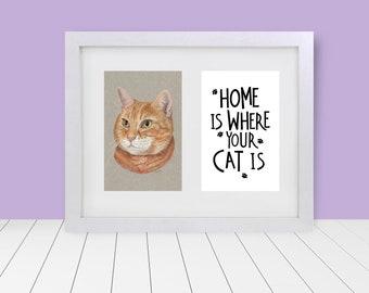 "Home Is - Custom Framed & Matted Pet Portrait - 5""x7"""