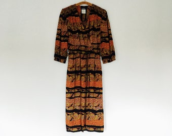 1990s abstract paisley print faux wrap dress.// size medium large