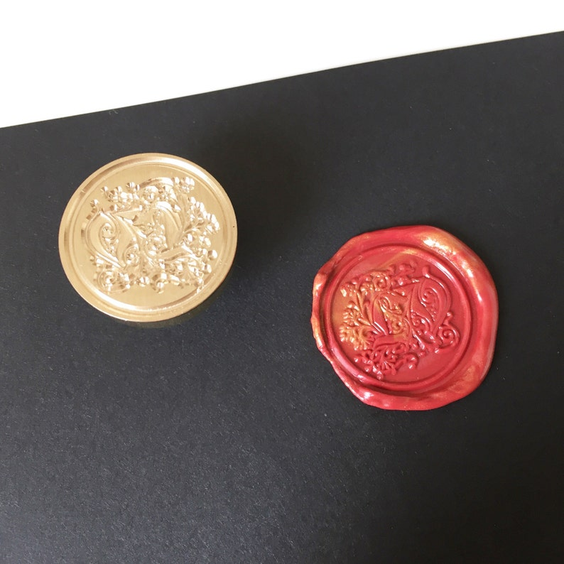 Calligraphy wax seal stamp pattern with initials